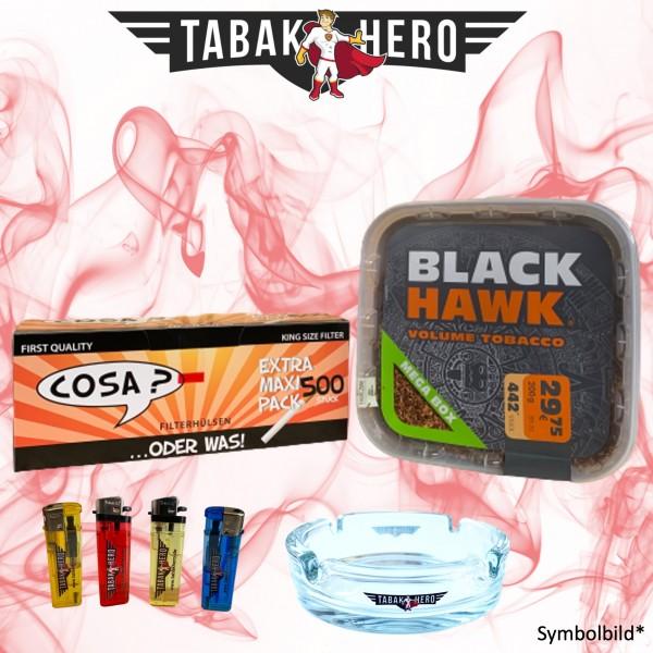 230g Black Hawk Tabak Mega Box, 500 Cosa Hülsen, Zubehör Stopftabak Volumentabak