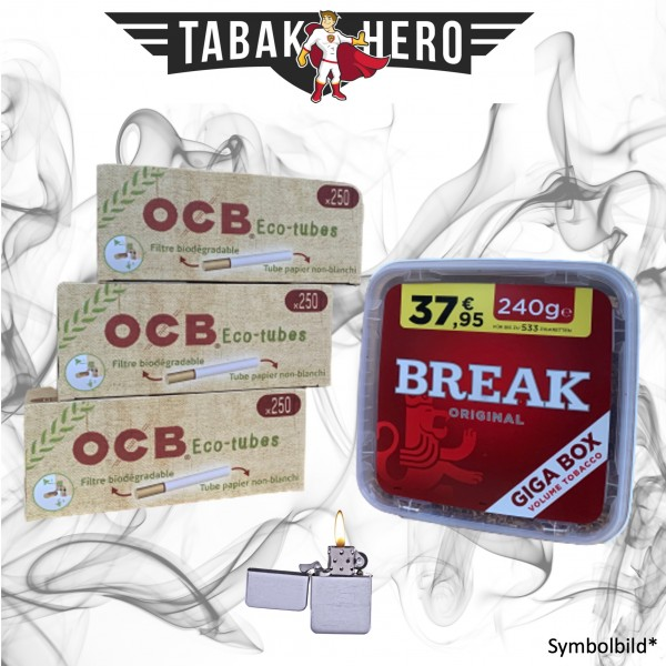 230g Break Original Tabak, 750 OCB Organic Hülsen, mehr Stopftabak Volumentabak