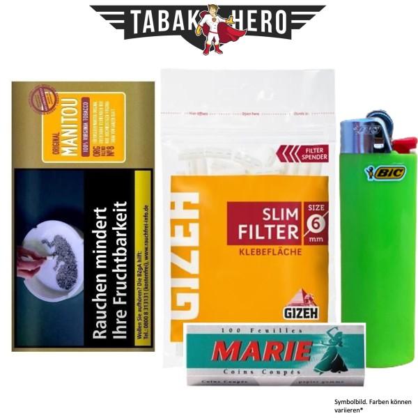 Drehset Manitou Organic Gold 30g + Gizeh 6mm Filter & Marie 100 Blatt Papier + BIC Feuerzeug