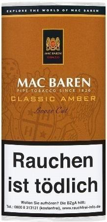 Mac Baren Classic Amber (Vanilla-Toffee Cream) Tabak 50g Pouch (Pfeifentabak)
