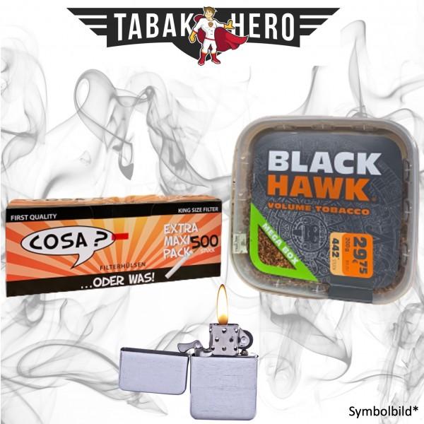230g Black Hawk Tabak Box, 500 Cosa Hülsen, Feuerzeug, Stopftabak Volumentabak