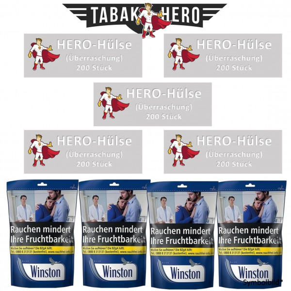 AKTION! 4x Winston Blue Beutel 125g + 5x Hero Hülsen 200
