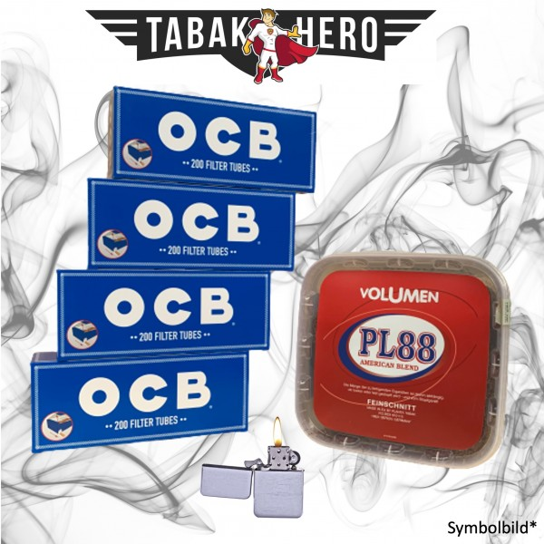 400g PL88 Red Tabak , 800 OCB Hanf Hülsen, Feuerzeug (Stopftabak Volumentabak)