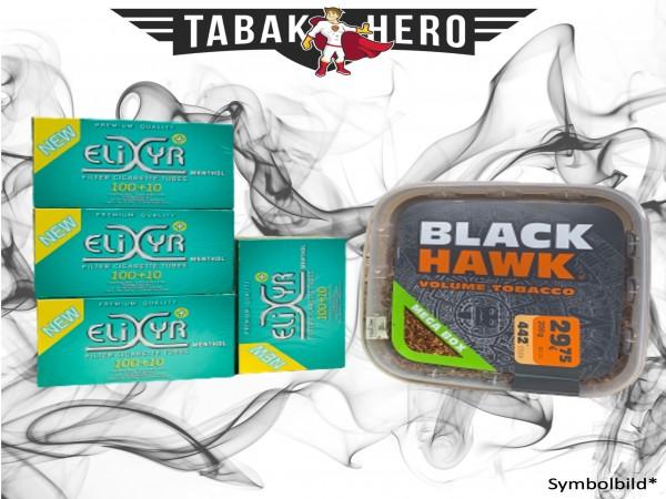 200g Black Hawk Tabak Box, Elixyr Menthol-Filterhülsen Stopftabak Volumentabak