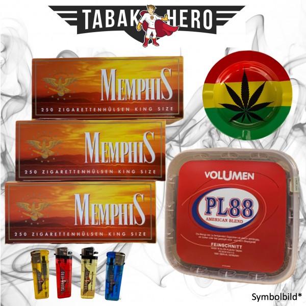 400g PL88 Red Volumentabak, 750 Hülsen, Stopftabak, Cannabis Aschenbecher + mehr