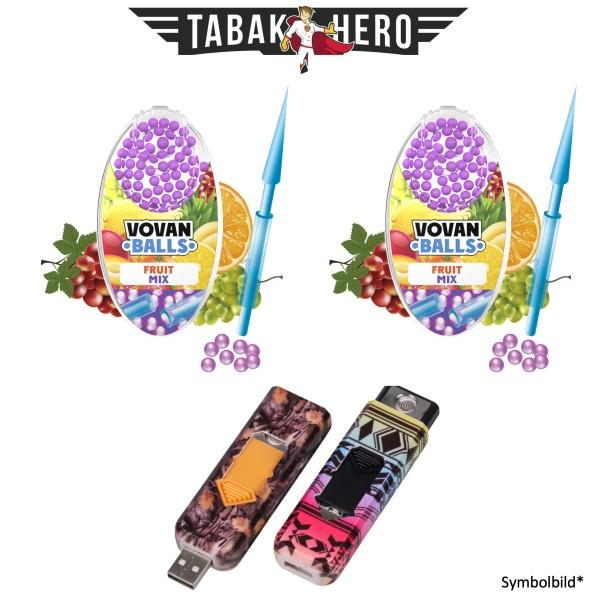 2x Vovan Aromakugeln Fruit Mix + 1x USB Spiral Feuerzeug Geschenkt