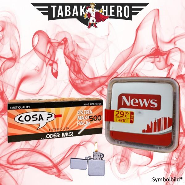 215g News Red Tabak, 500 Cosa Hülsen, Benzinfeuerzeug (Stopftabak Volumentabak)