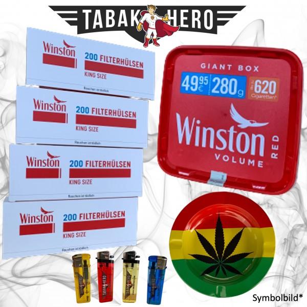280g Winston Red Giantbox Tabak Eimer, Hülsen + Zubehör, Stopftabak, Cannabis-AB
