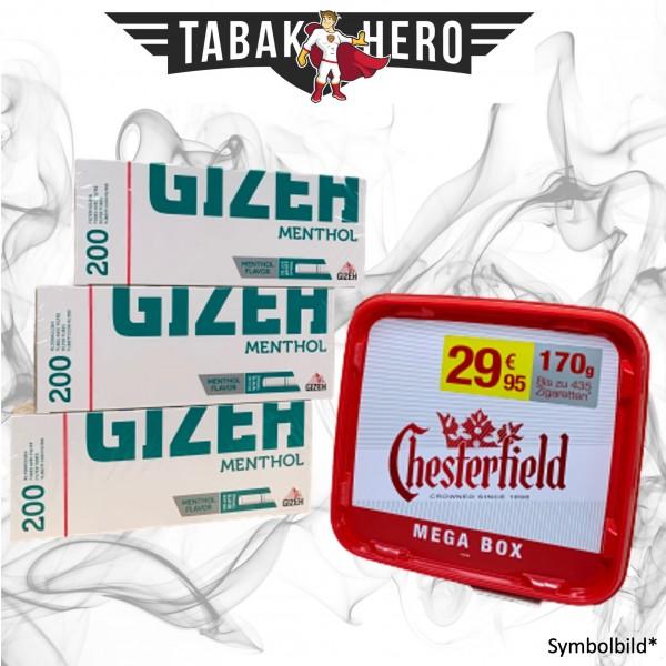 170g Chesterfield Red Tabak, Gizeh Menthol-Filterhülsen Stopftabak Volumentabak