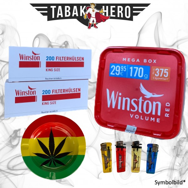 170g Winston Red Megabox Tabak Eimer, Hülsen + Zubehör, Stopftabak, Cannabis-AB