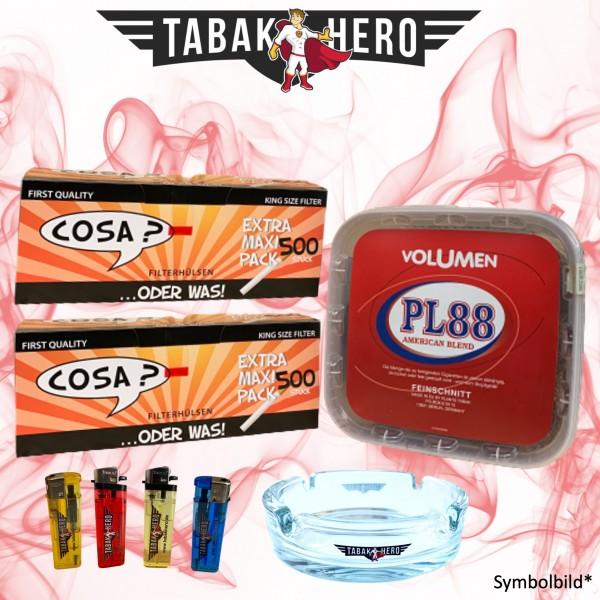 400g PL88 Red Tabak, 1.000 Cosa Hülsen, Zubehör Stopftabak Volumentabak