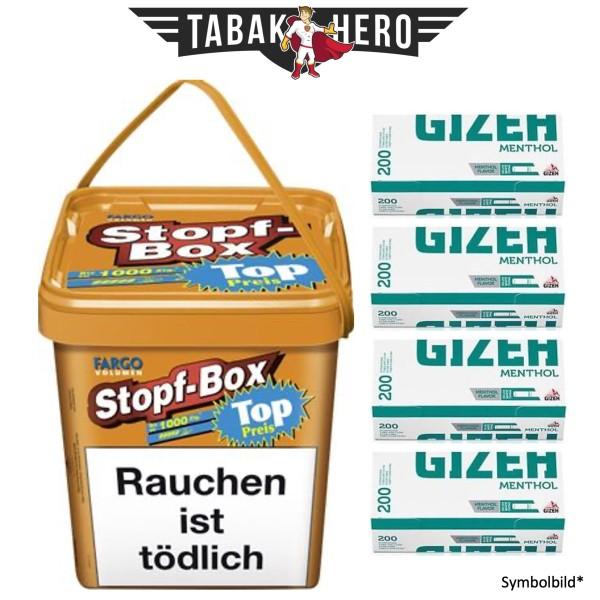 Fargo Volumen Stopf Eimer (Box) 480g,4x Gizeh Menthol Hülsen
