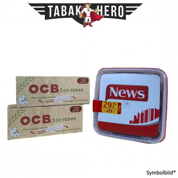 250g News Red Tabak, 500 OCB Organic Hülsen (Stopftabak Volumentabak)