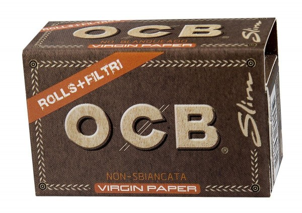 10 x OCB Unbleached Slim Virgin Paper Roll Kit Drehpapier/ Blättchen/ Zigarettenpapier