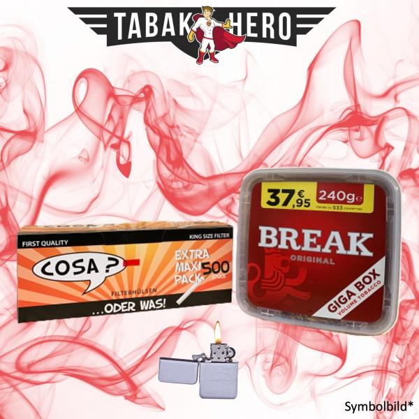 230g Break Original Tabak, 500 Cosa Hülsen, Feuerzeug (Stopftabak Volumentabak)