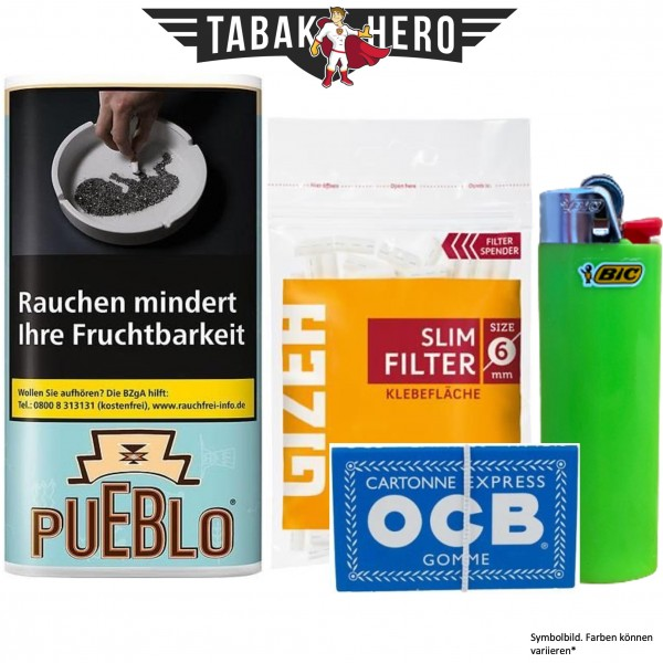 Drehset Pueblo Blue 30g + Gizeh 6mm Filter & OCB 100 Blatt Papier + BIC Feuerzeug