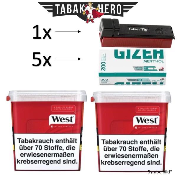 520g West Red Eimer + 1000 Gizeh Menthol Hülsen + GIZEH SILVER STOPFER ! AKTION !