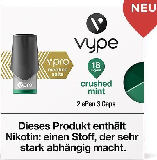 6 x 2 Vuse (Vype) ePen Caps Crisp Mint 18mg