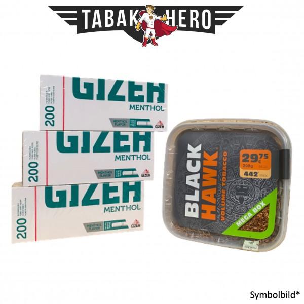 200g Black Hawk Tabak Box, Gizeh Menthol-Filterhülsen Stopftabak Volumentabak