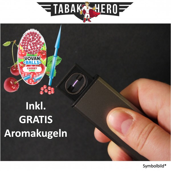 Edles Lichtbogen USB Feuerzeug + Gratis Vovan Aromakapseln Cherry Mint