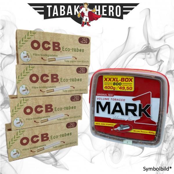 400g Mark Adams No 1 Tabak, 1000 OCB Organic Hülsen etc, Stopftabak Volumentabak