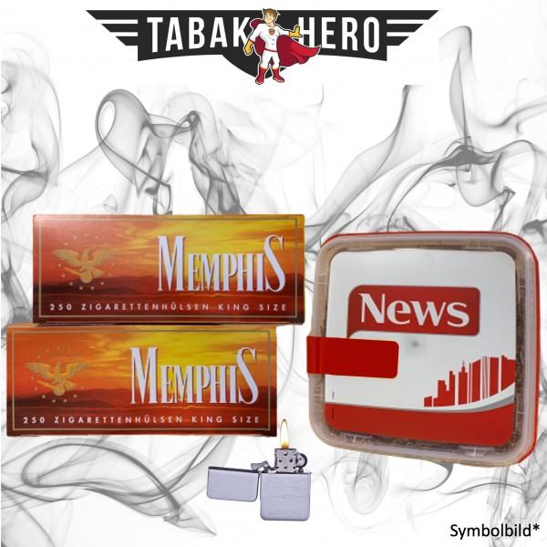 250g News Red Tabak, 500 Hülsen, Benzinfeuerzeug (Stopftabak Volumentabak)