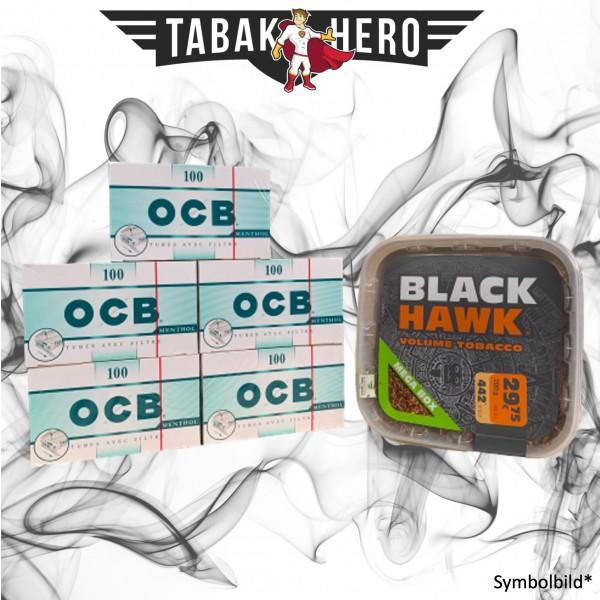 200g Black Hawk Mega Box + 500 OCB-Filterhülsen, Stopftabak Volumentabak