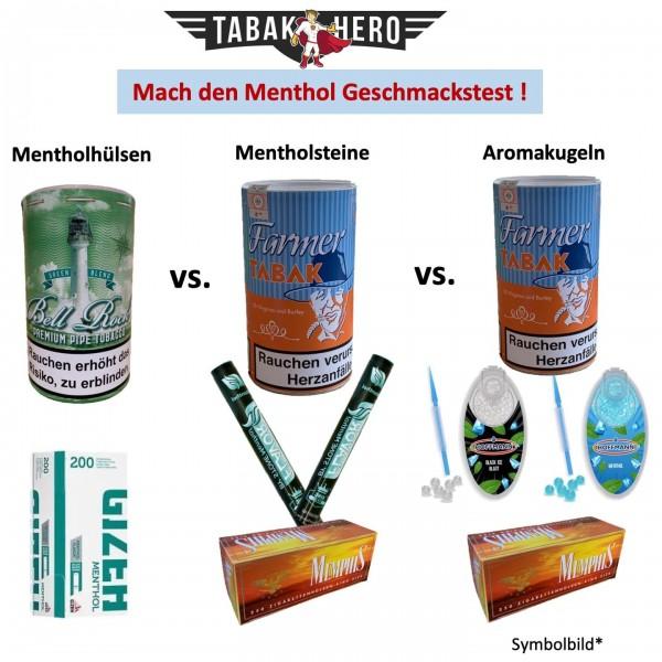 MENTHOL Vergleichstest- Mentholhülsen, Mentholstein; Aromakugeln; Aromakapseln