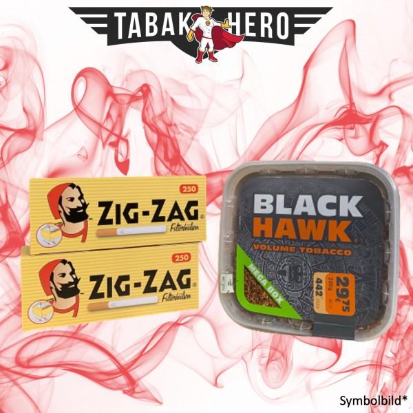 200g Black Hawk Tabak Box, 500 Zig Zag King Size Hülsen Stopftabak Volumentabak