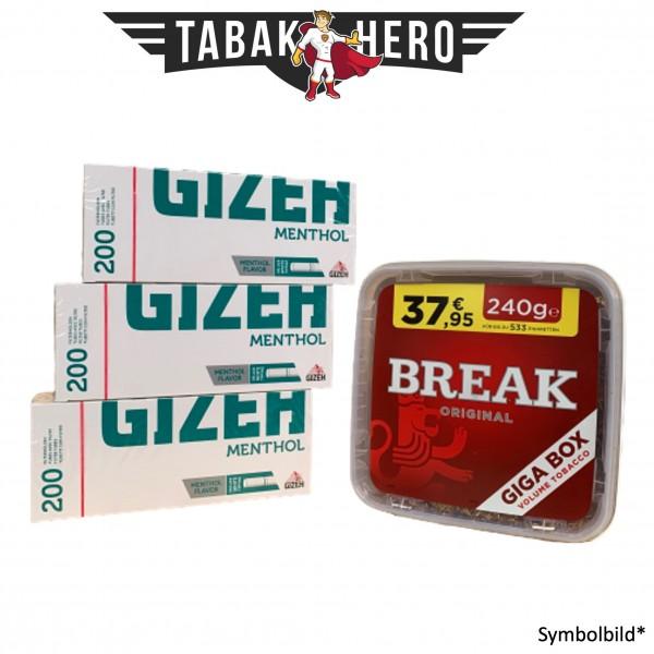 240g Break Original Tabak, Gizeh Menthol-Filterhülsen Stopftabak Volumentabak