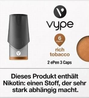 6 x 2 Vuse (Vype) ePen Caps Rich Tobacco 6mg