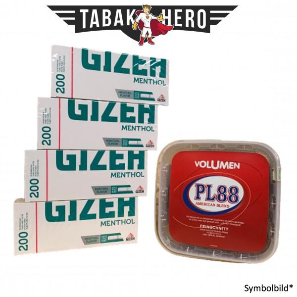 365g PL88 Red Tabak , 800 Gizeh Menthol-Filterhülsen (Stopftabak Volumentabak)