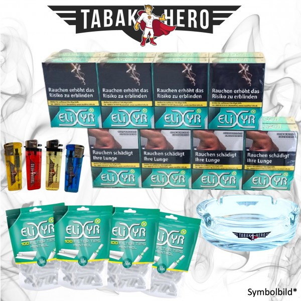 16 x Elixyr Zigaretten XL + 400 Elixyr Tips (Energy) Menthol-Filtertips, Zubehör