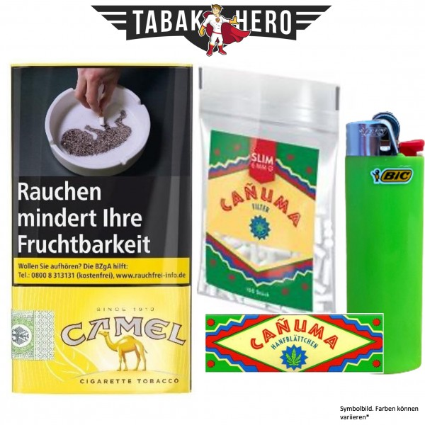 Drehset Camel Drehtabak 30g + Canuma 6mm Filter & Canuma Drehpapier + BIC Feuerzeug