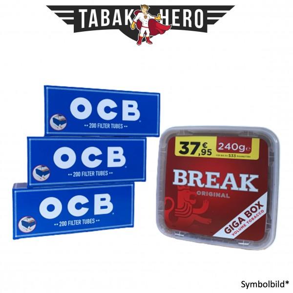 230g Break Original Tabak, 600 OCB Hanf Hülsen (Stopftabak Volumentabak)