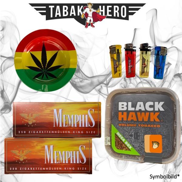230g Black Hawk Tabak Mega Box, 500 Hülsen, Stopftabak, Cannabis Aschenbecher