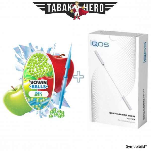 HEETS / IQOS Cleaning Sticks + 1x Aromakugeln Iced Apple 100 stk.