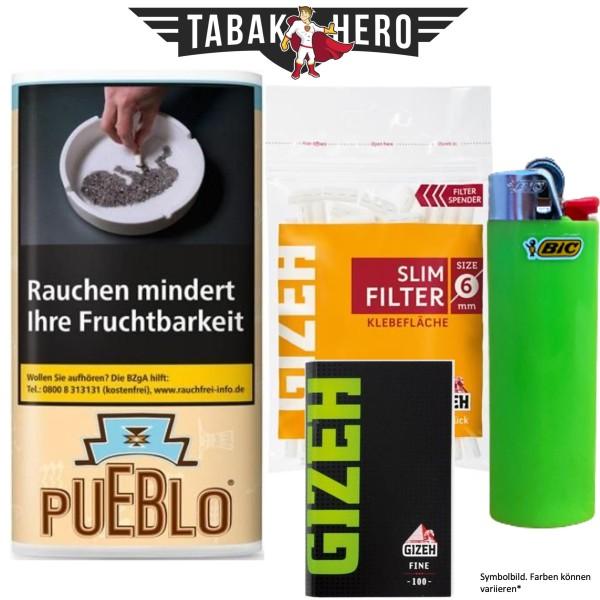 Drehset Pueblo Classic 30g + Gizeh 6mm Filter & Gizeh Fine Papier + BIC Feuerzeug