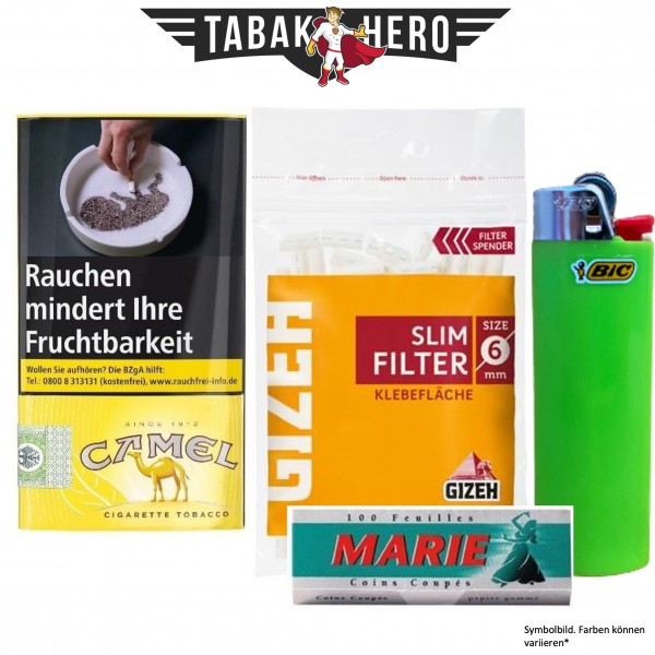 Drehset Camel 30g + Gizeh 6mm Filter & Marie 100 Blatt Papier + BIC Feuerzeug