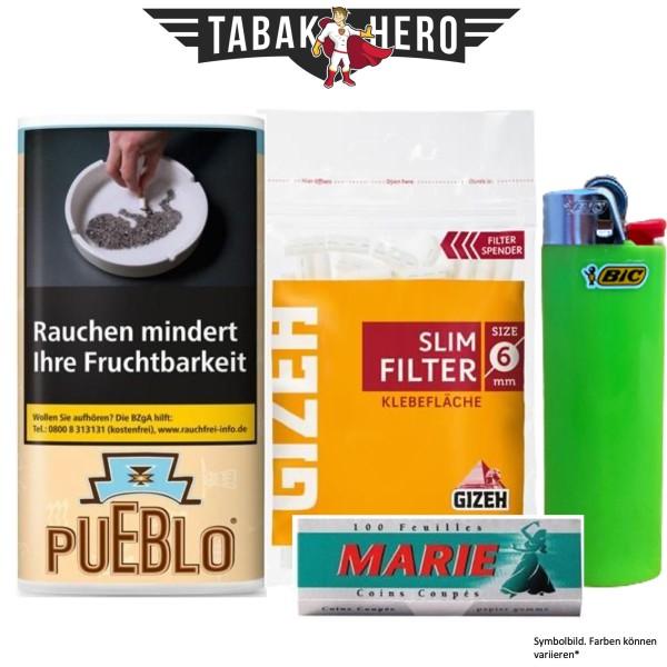 Drehset Pueblo Classic 30g + Gizeh 6mm Filter & Marie 100 Blatt Papier + BIC Feuerzeug