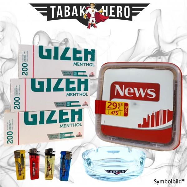 215g News Red Tabak, 600 Gizeh Menthol-Filterhülsen Stopftabak Volumentabak