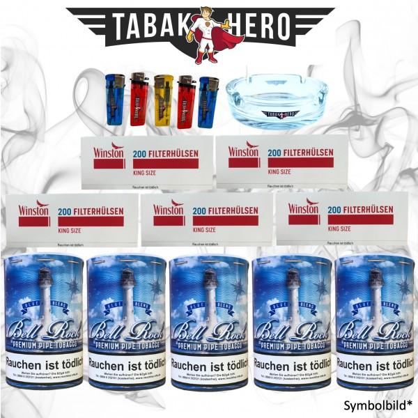 800g Bell Rock Blue Tabak + 1000 Winston Hülsen + Zubehör ! AKTION !