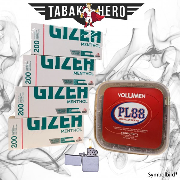 400g PL88 Red Tabak,800 Gizeh Menthol-Filterhülsen, mehr Stopftabak Volumentabak