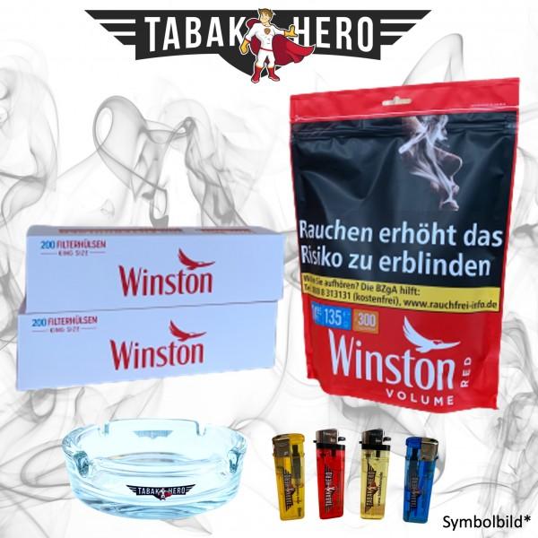 135g Winston Red Tabak Zip Beutel + Hülsen + Zubehör, Stopftabak, Volumentabak