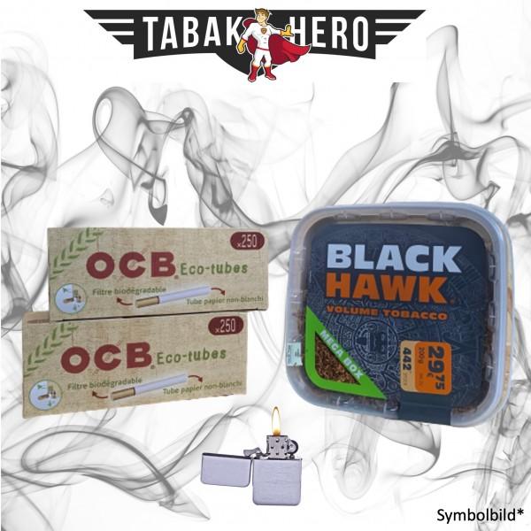 230g Black Hawk Tabak , 500 OCB Organic Hülsen, mehr Stopftabak Volumentabak