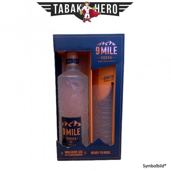 9 Miles Vodka mit Glas und LED Beleuchtung 0,7 Liter