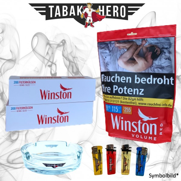 115g Winston Red Zip Beutel Tabak + Hülsen + Zubehör, Stopftabak, Volumentabak
