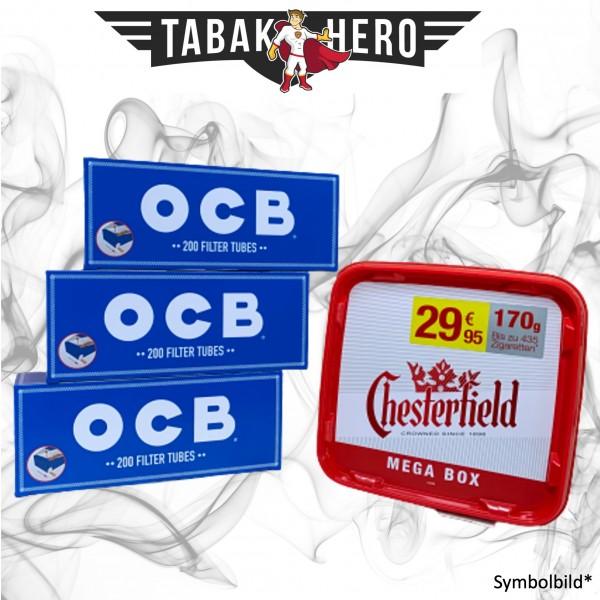 170g Chesterfield Red Tabak Mega, 600 OCB Hanf Hülsen (Stopftabak Volumentabak)