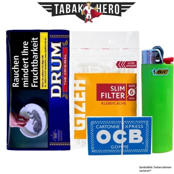 Drehset Drum Original 30g + Gizeh 6mm Filter & OCB 100 Blatt Papier + BIC Feuerzeug