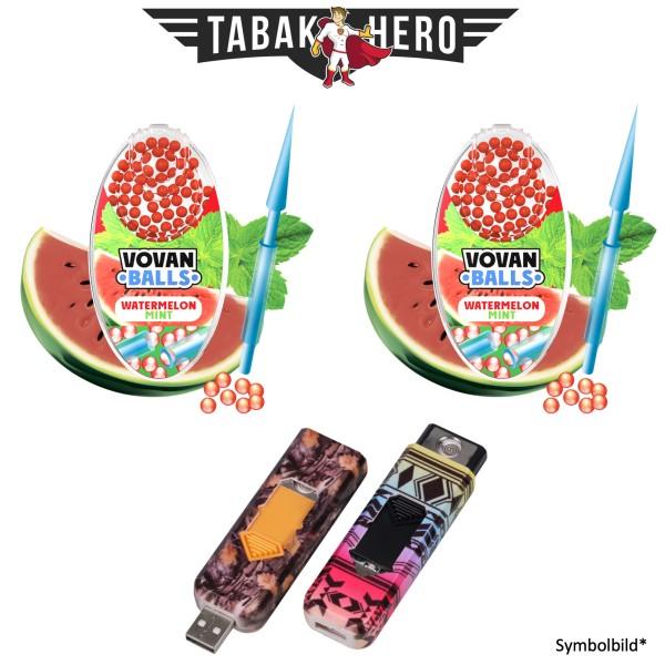 2x Vovan Aromakugeln Watermelon Mint + 1x USB Spiral Feuerzeug Geschenkt